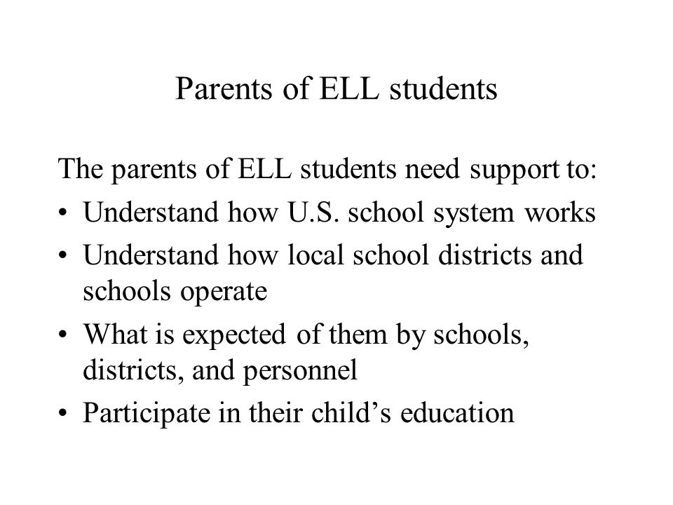 Parents of ELL students