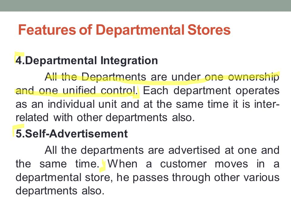 features of departmental store