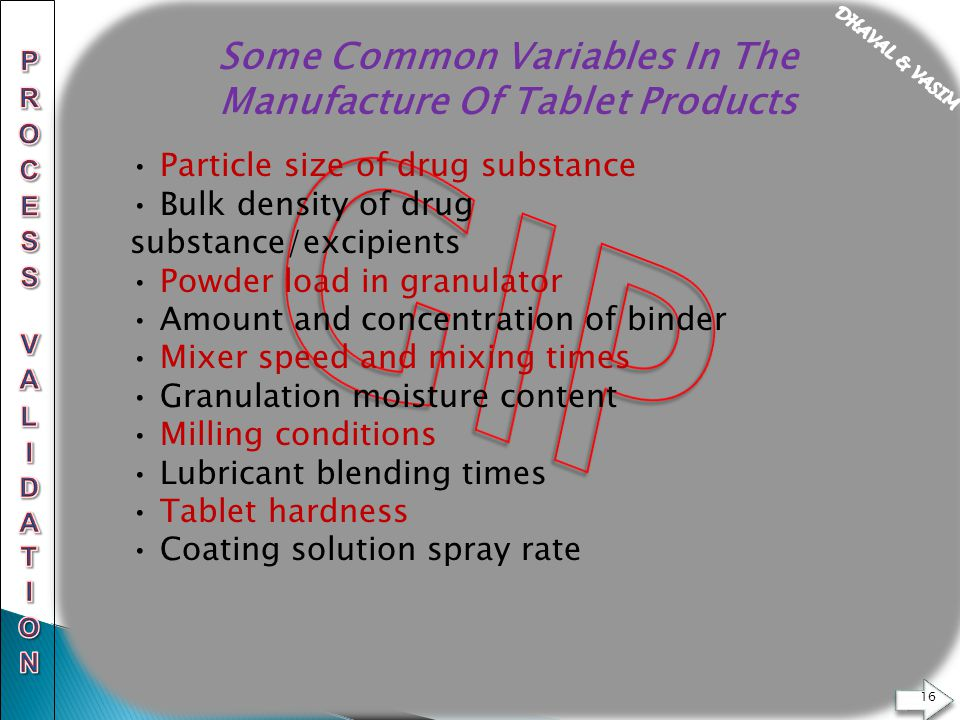 PROCESS VALIDATION OF TABLETS  - ppt download