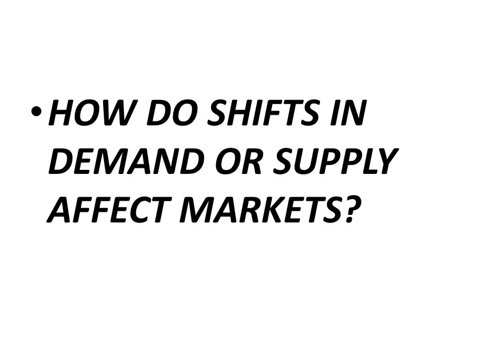 HOW DO SHIFTS IN DEMAND OR SUPPLY AFFECT MARKETS