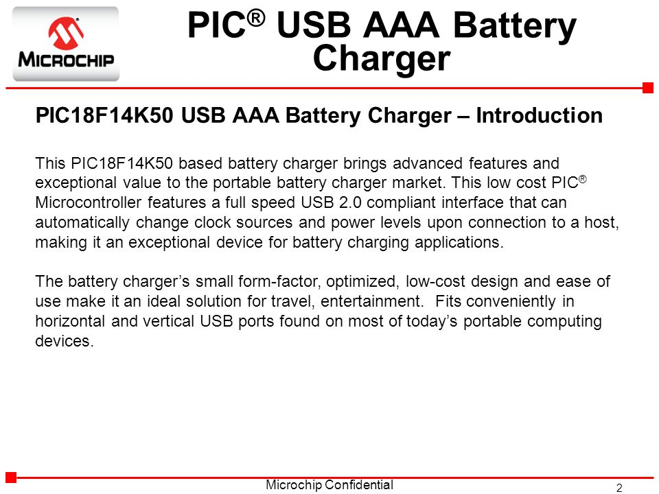 PIC® MCU based USB AAA Battery Charger - ppt video online
