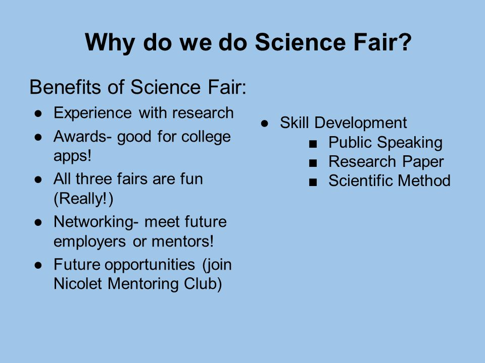 essay of science fair Science fair research paper basically means writing a research paper for your science fair project to start with, you would not only require a well-written research paper but also an abstract that would represent your complete research during the science fair.