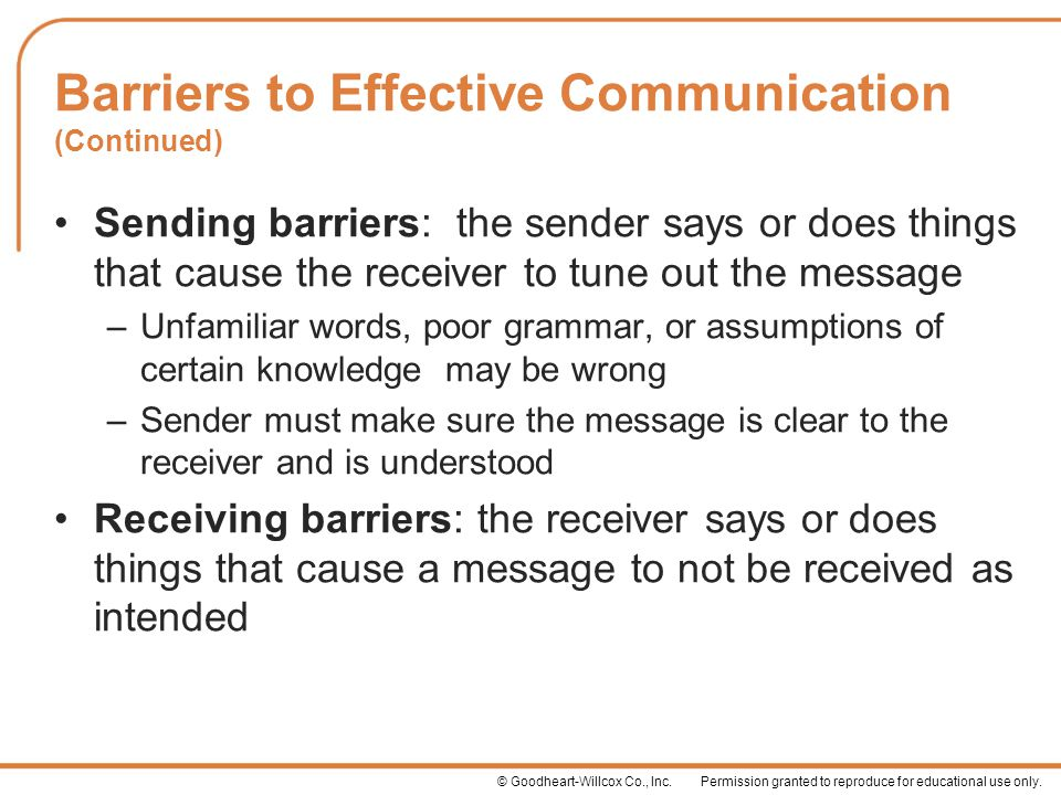 Barriers to Effective Communication (Continued)
