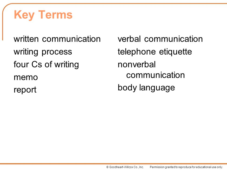 Key Terms written communication writing process four Cs of writing memo report