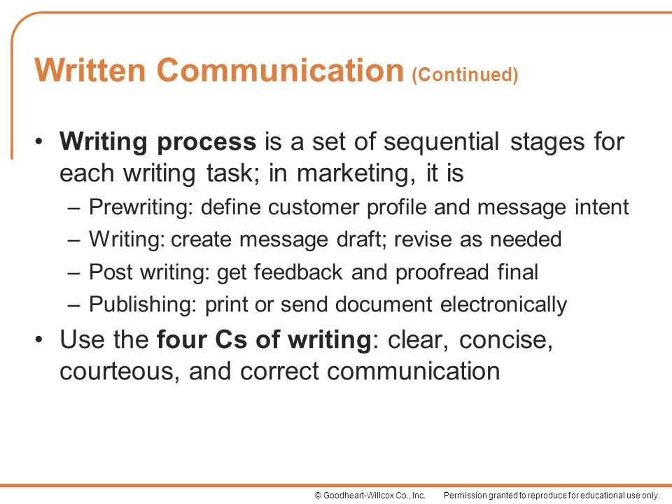Written Communication (Continued)