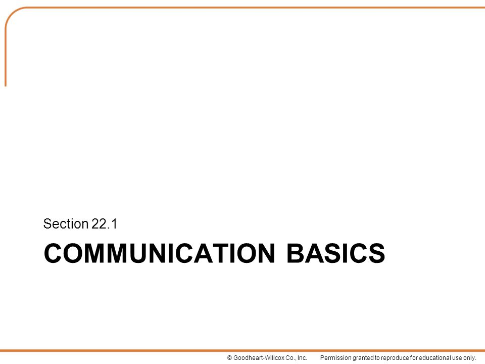 Section 22.1 Communication Basics