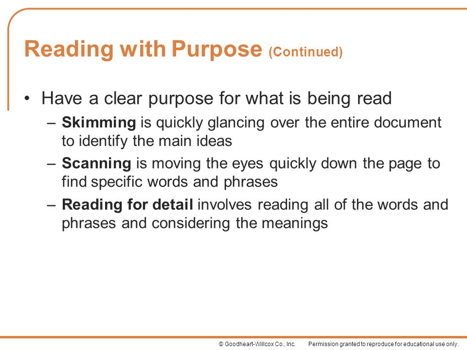 Reading with Purpose (Continued)