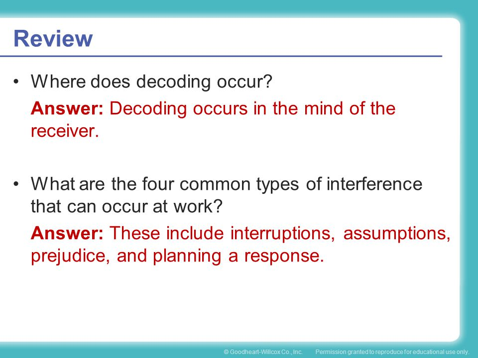 Review Where does decoding occur