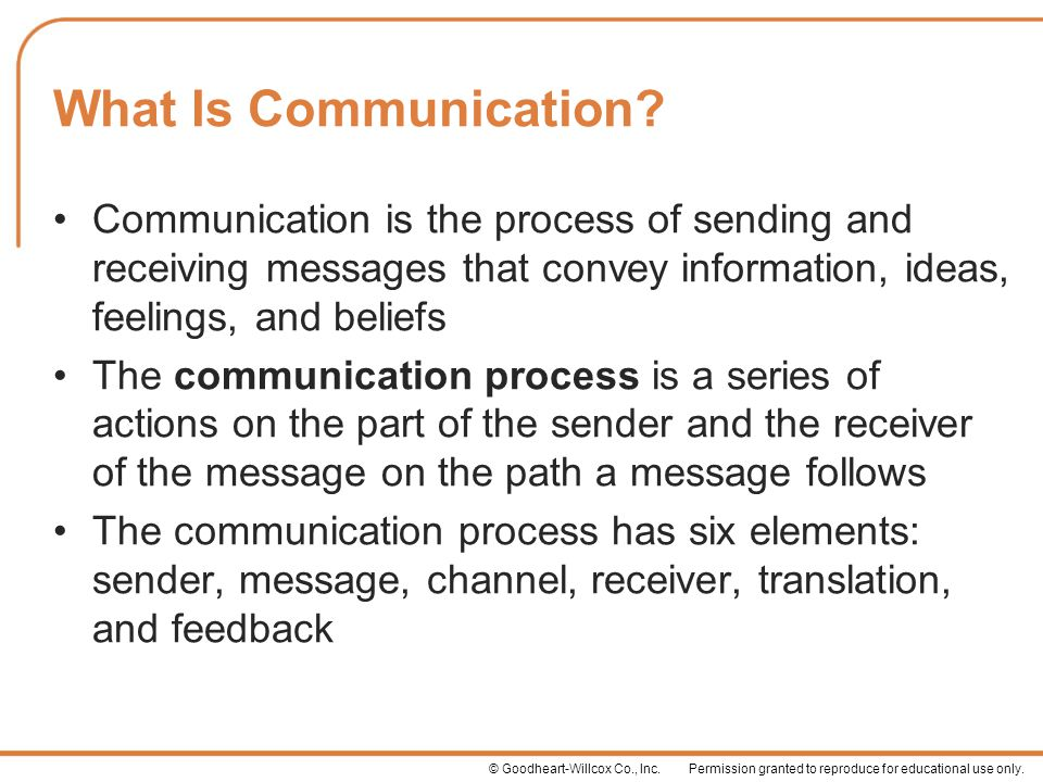 What Is Communication Communication is the process of sending and receiving messages that convey information, ideas, feelings, and beliefs.