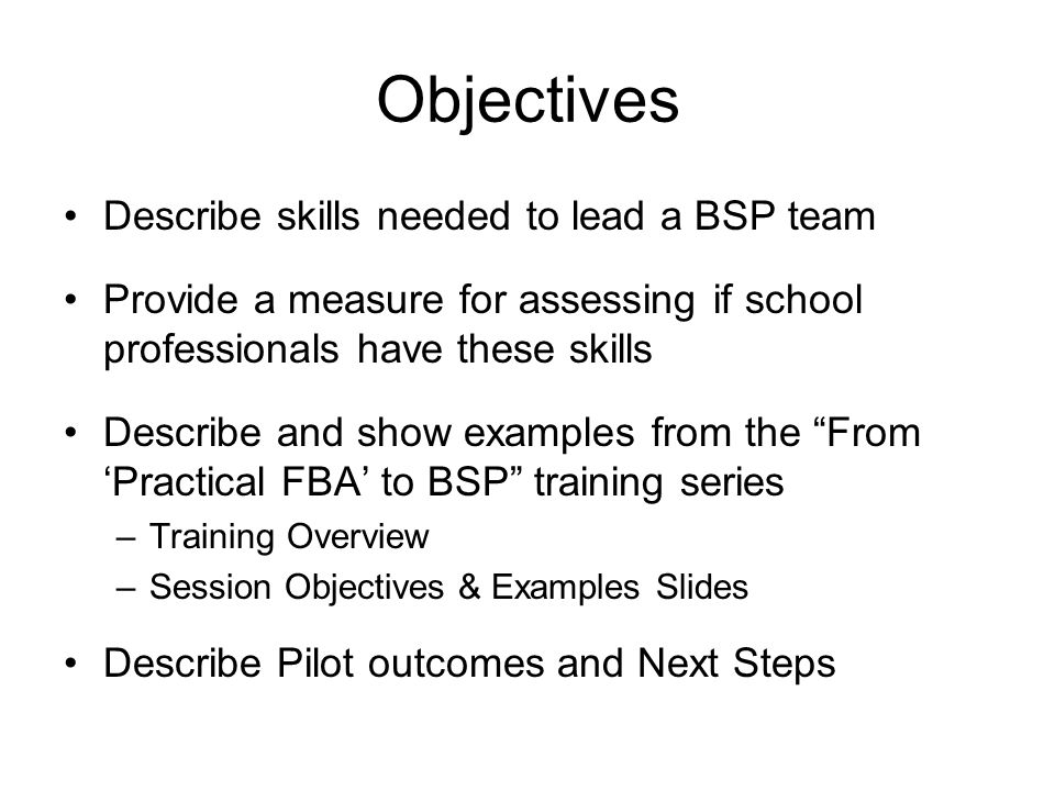 team leader objectives examples