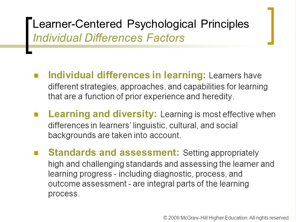 Learner-Centered Psychological Principles Individual Differences Factors