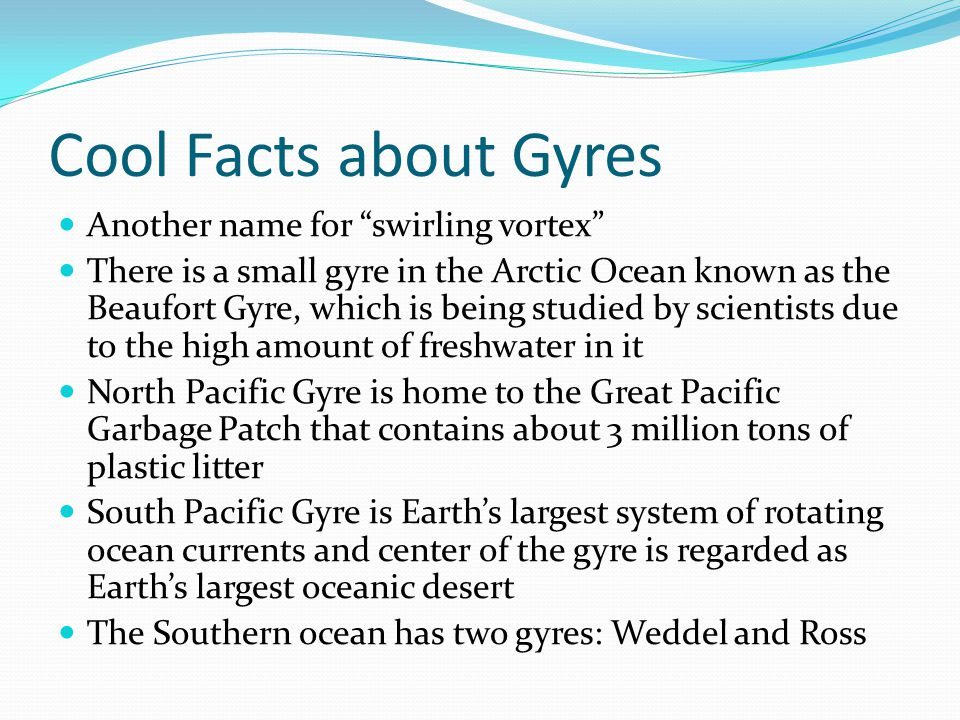 Cool Facts about Gyres Another name for swirling vortex