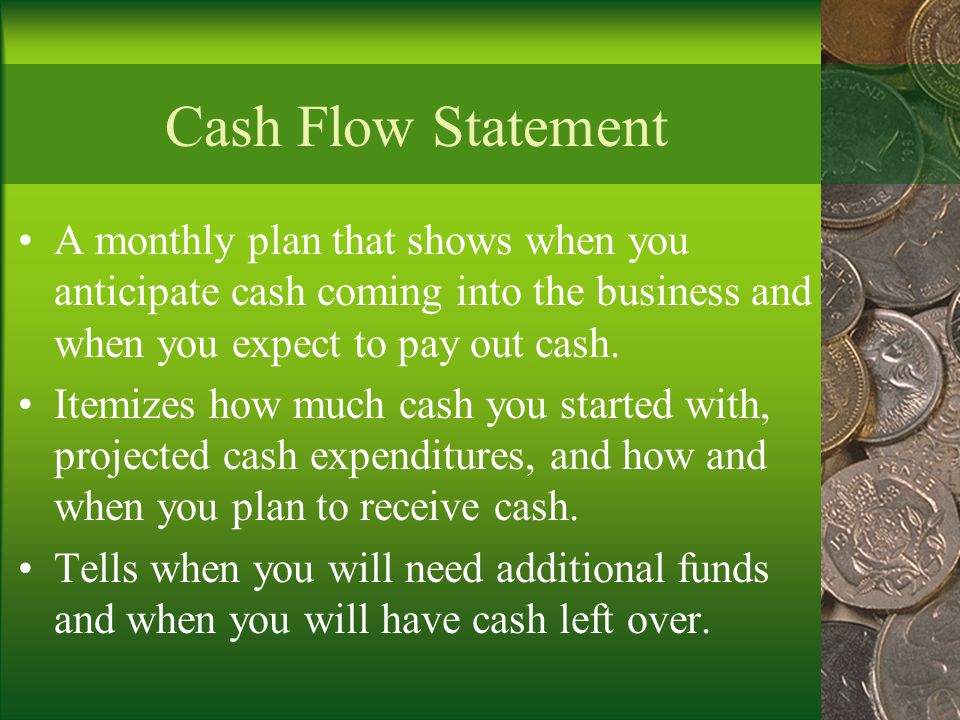 Cash Flow Statement A monthly plan that shows when you anticipate cash coming into the business and when you expect to pay out cash.