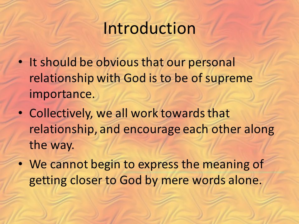importance of relationship with god