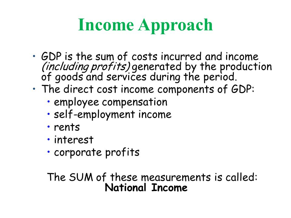 Income Approach GDP is the sum of costs incurred and income (including profits) generated by the production of goods and services during the period.