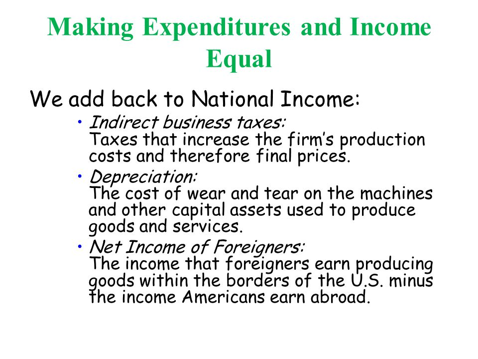 Making Expenditures and Income Equal