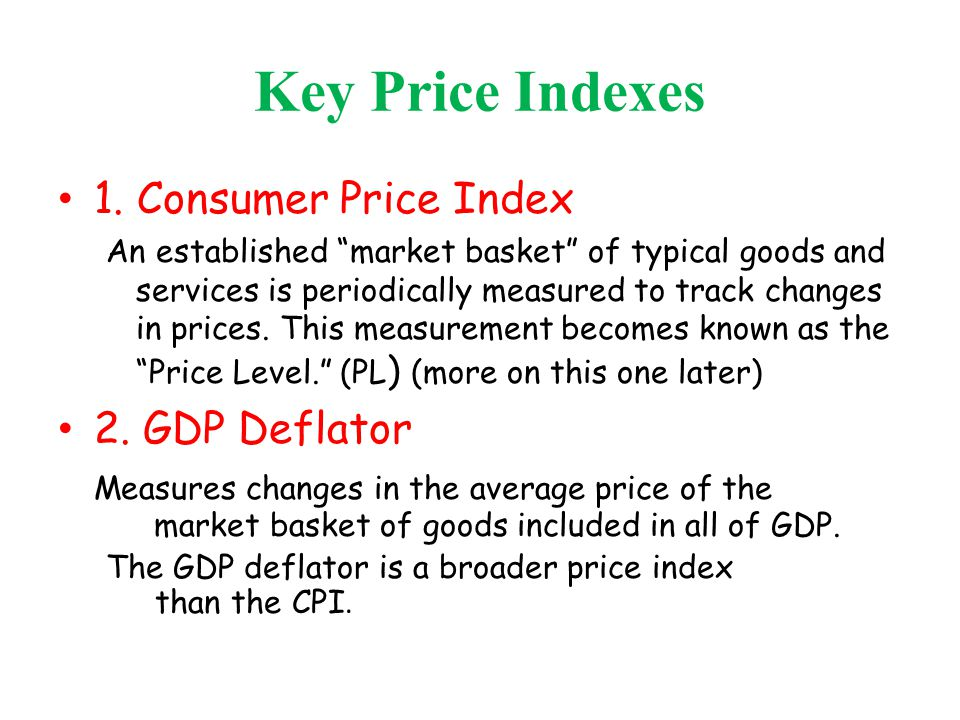 Key Price Indexes 1. Consumer Price Index 2. GDP Deflator