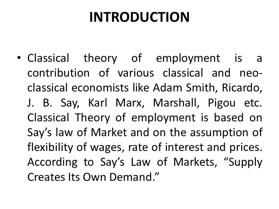 Introduction to the Theory of Employment