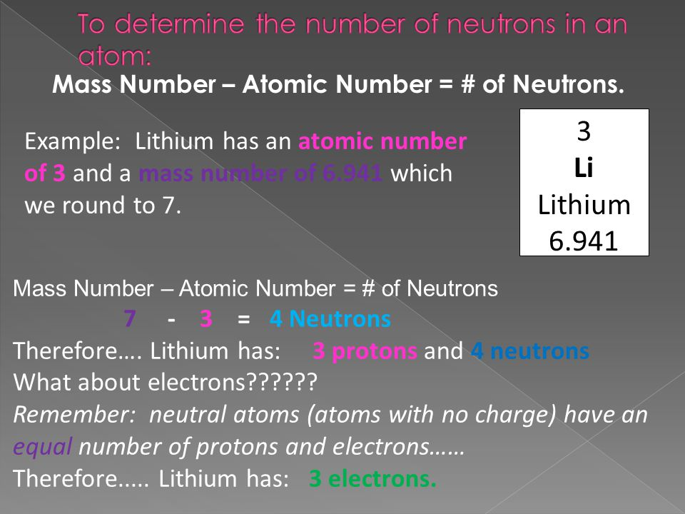To determine the number of neutrons in an atom: