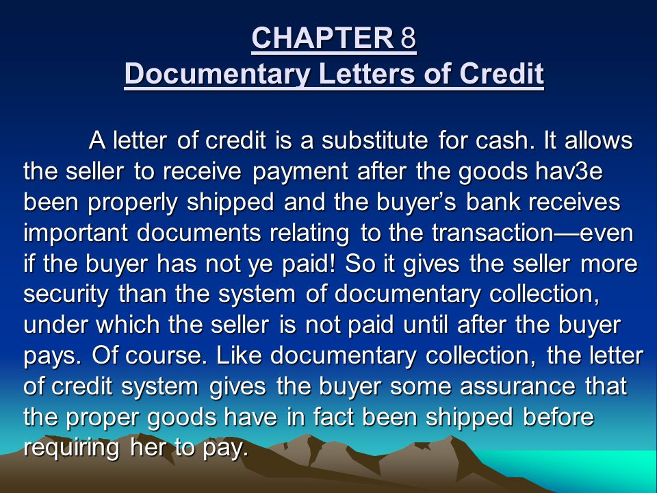 CHAPTER 8 Documentary Letters of Credit