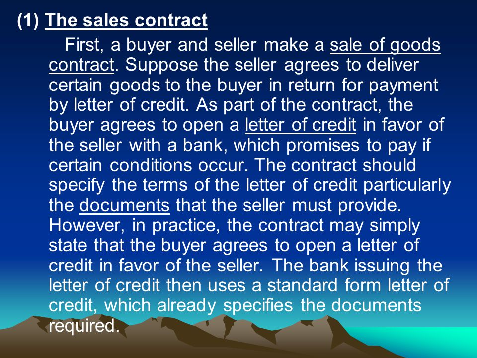 (1) The sales contract
