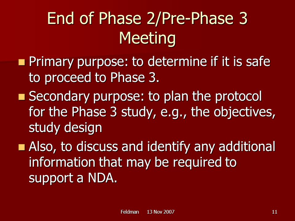 End of Phase 2/Pre-Phase 3 Meeting