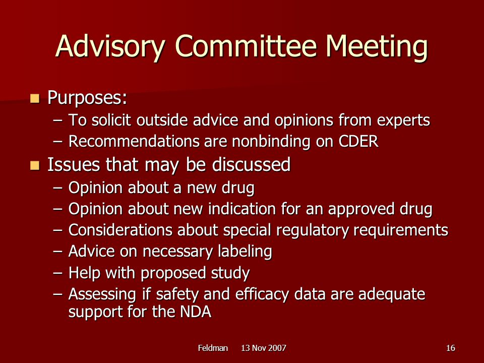 Advisory Committee Meeting