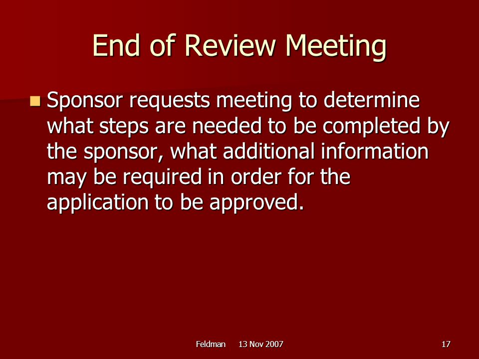 End of Review Meeting