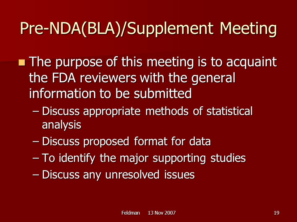 Pre-NDA(BLA)/Supplement Meeting