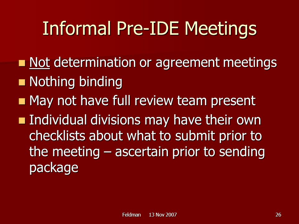 Informal Pre-IDE Meetings