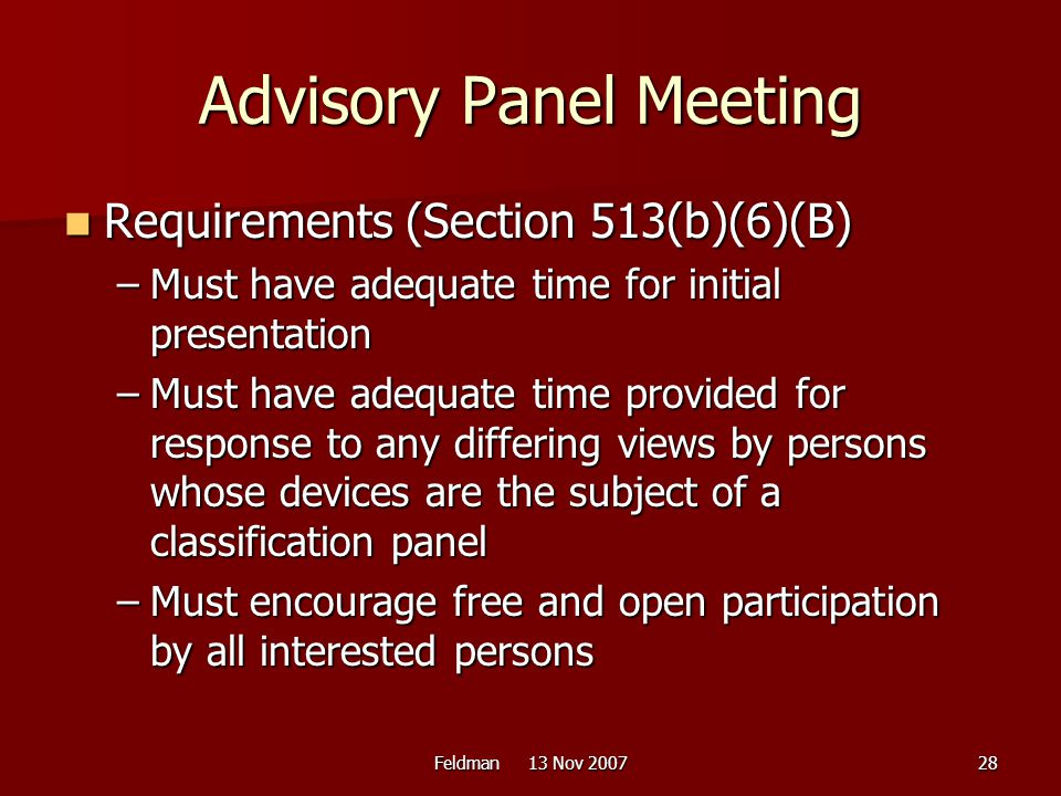 Advisory Panel Meeting