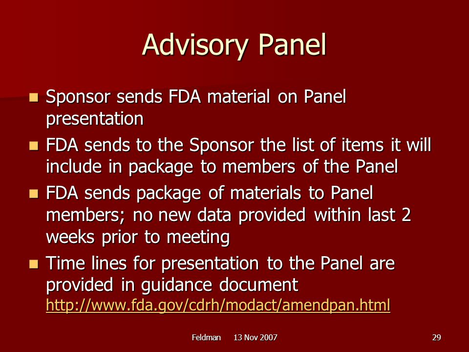 Advisory Panel Sponsor sends FDA material on Panel presentation