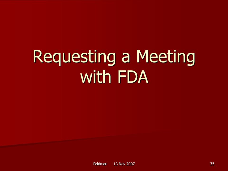 Requesting a Meeting with FDA