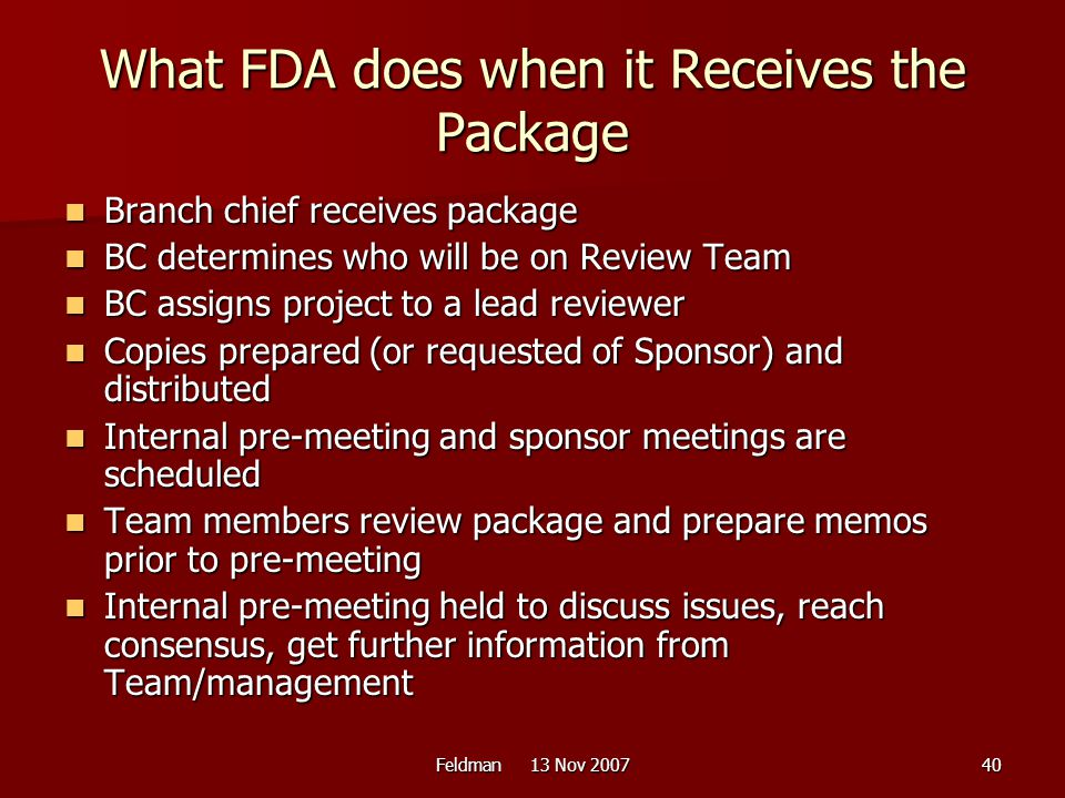 What FDA does when it Receives the Package