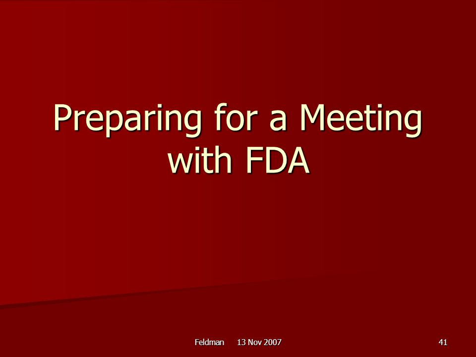 Preparing for a Meeting with FDA