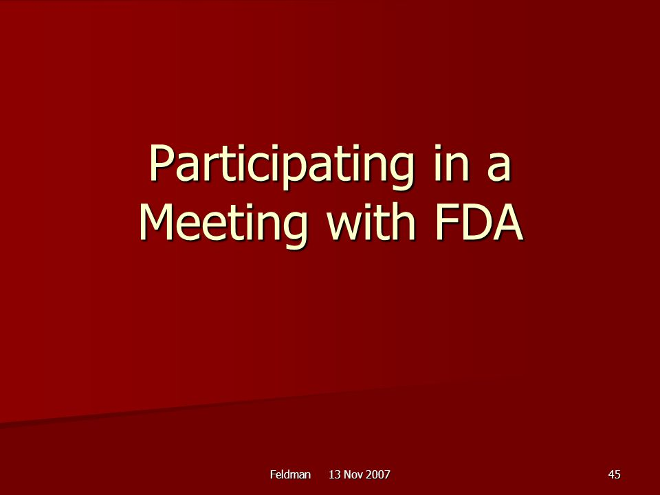 Participating in a Meeting with FDA