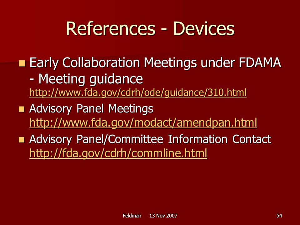 References - Devices Early Collaboration Meetings under FDAMA - Meeting guidance