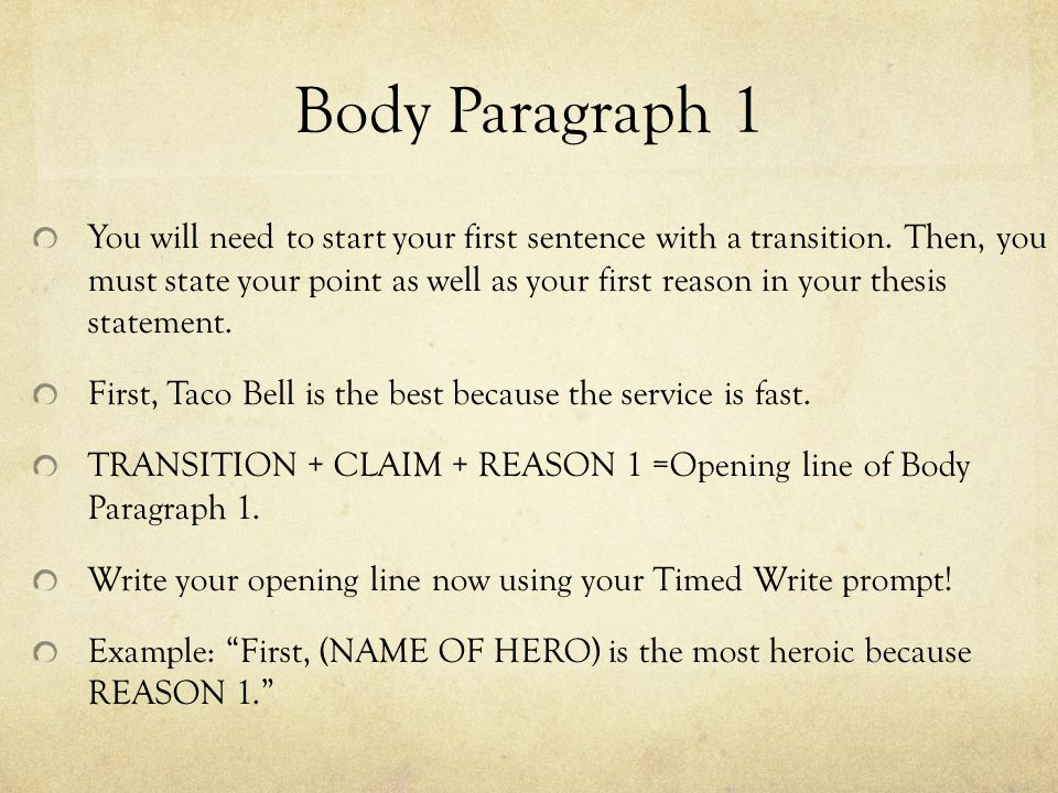 ways to start a body paragraph