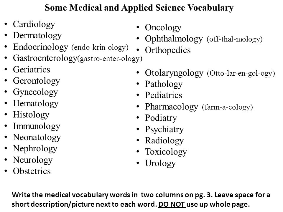 Ch  1 Medical and Applied Science Vocab - ppt download