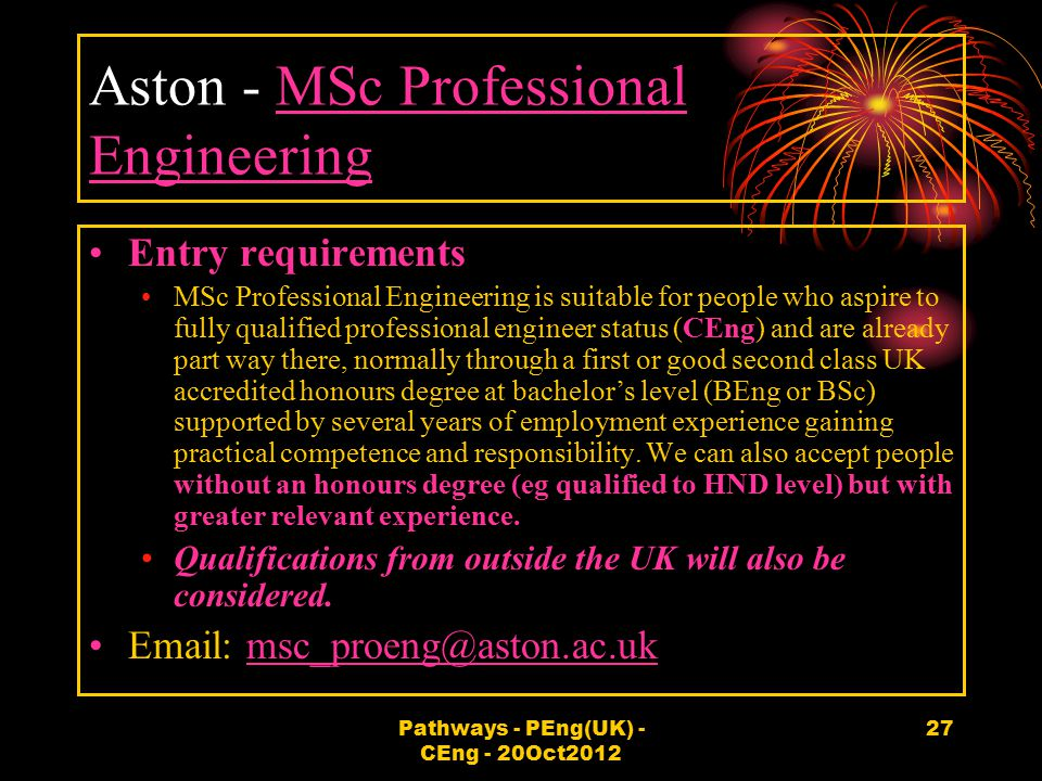 Aston - MSc Professional Engineering