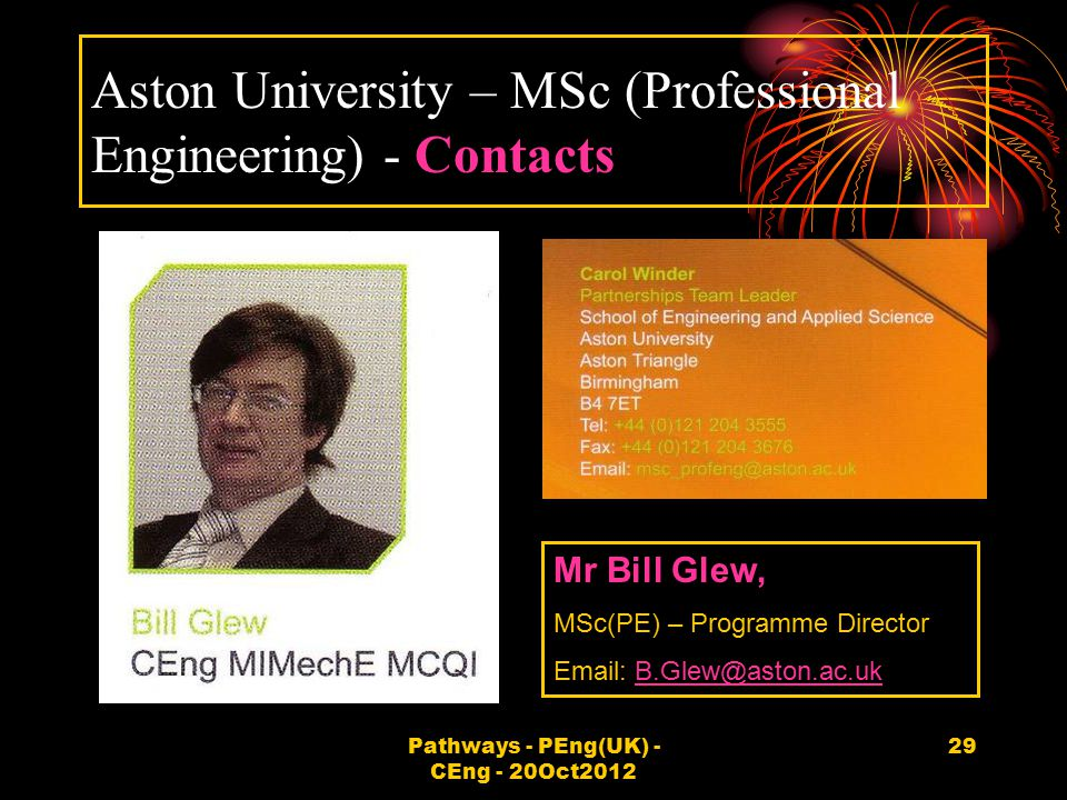 Aston University – MSc (Professional Engineering) - Contacts