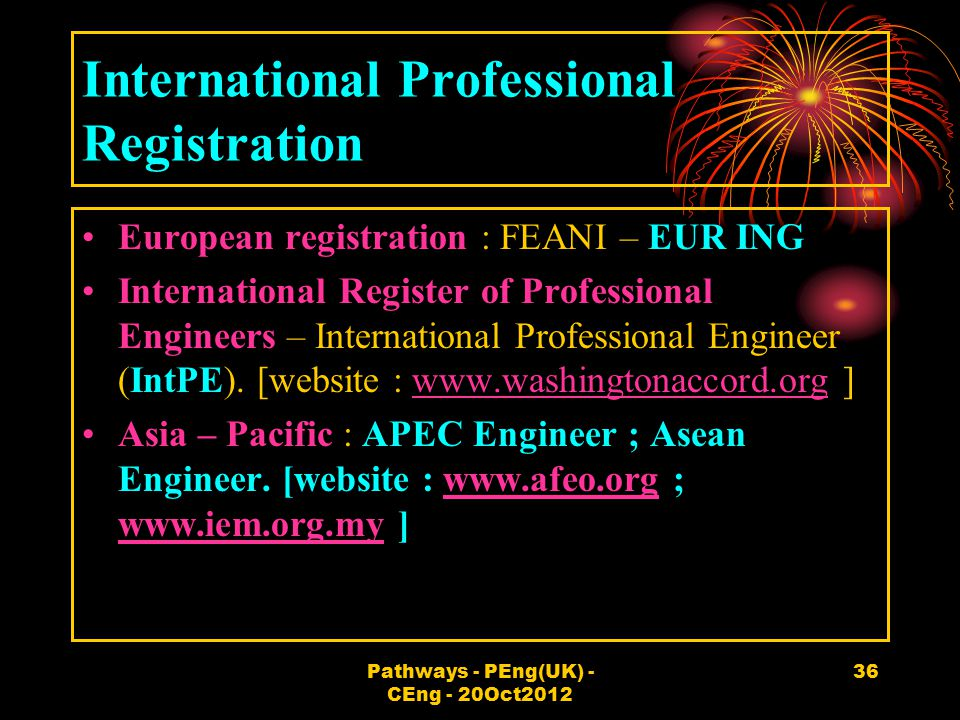 International Professional Registration