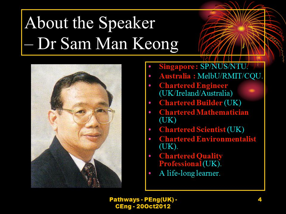About the Speaker – Dr Sam Man Keong