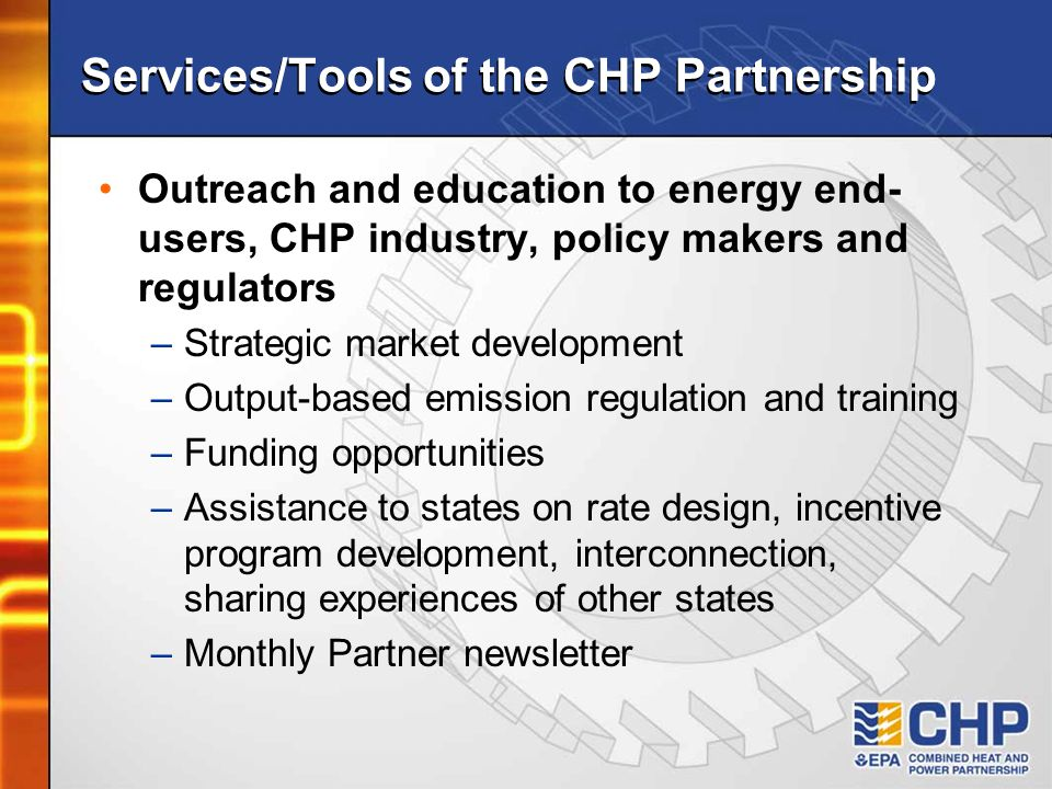 Services/Tools of the CHP Partnership