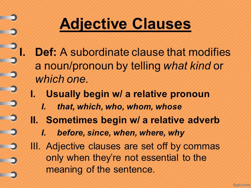 what is an adjective dependent clause