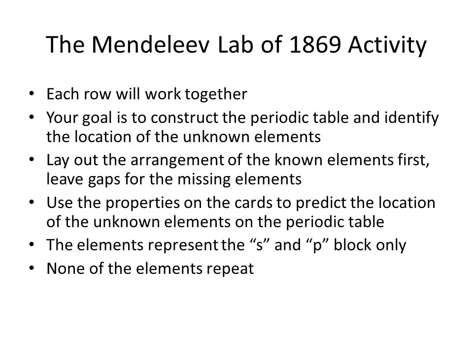History of the periodic table ppt download the mendeleev lab of 1869 activity urtaz Image collections