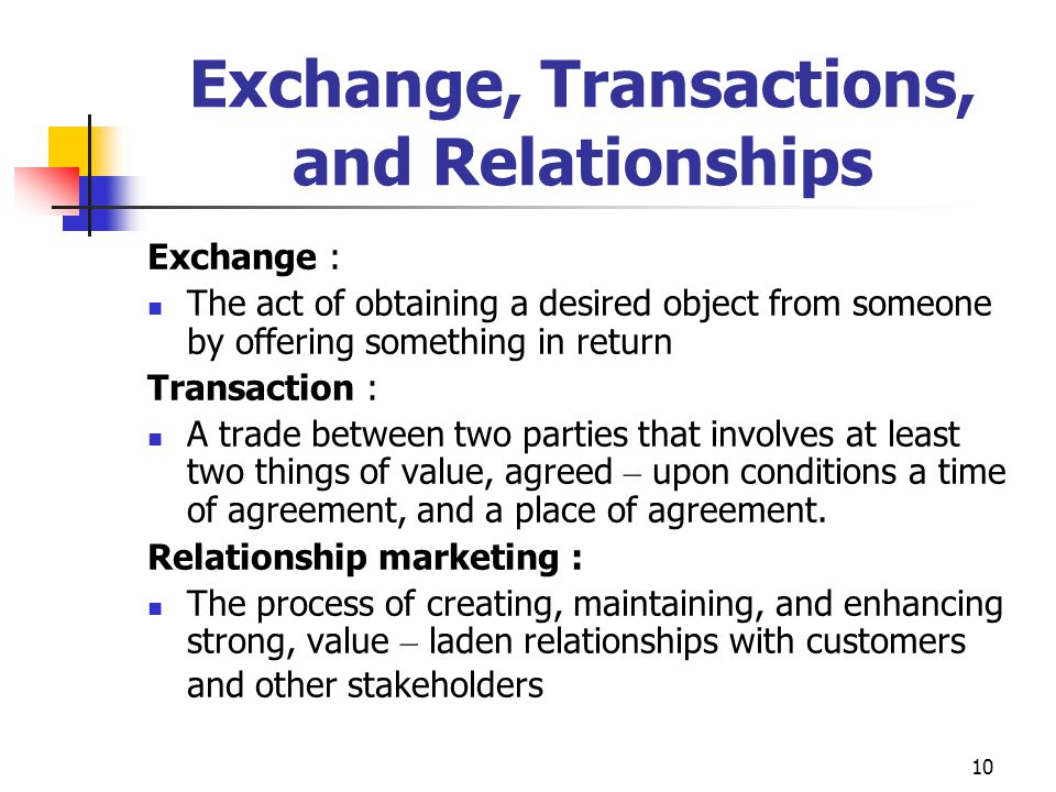 Exchange, Transactions, and Relationships