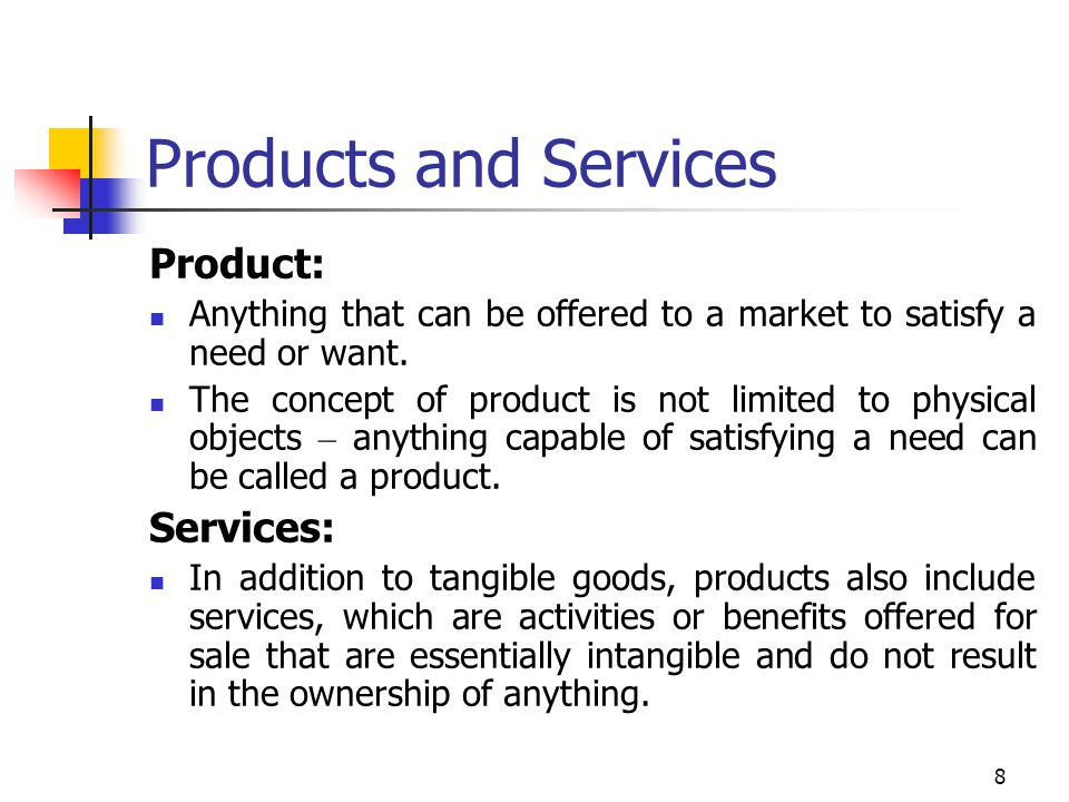 Products and Services Product: Services: