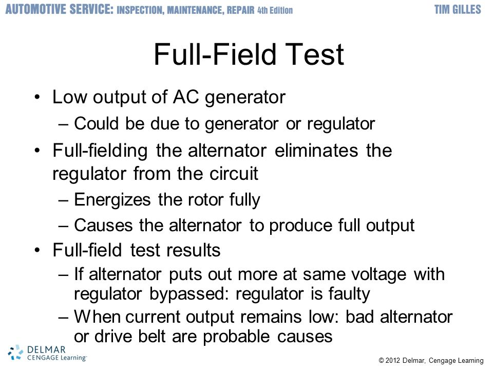 Full-Field Test Low output of AC generator