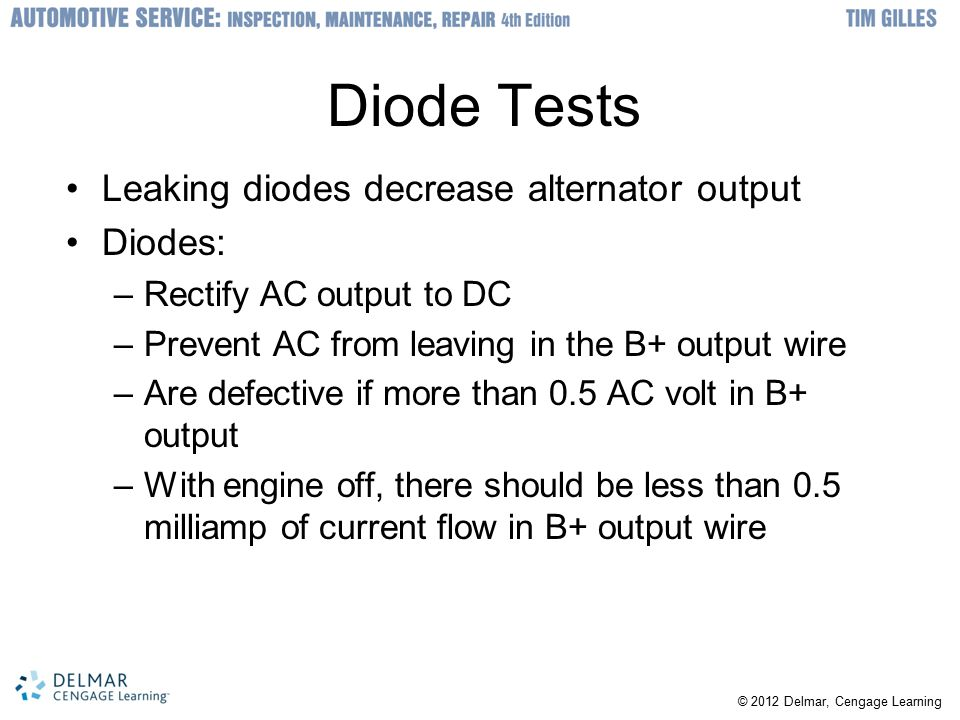 Diode Tests Leaking diodes decrease alternator output Diodes: